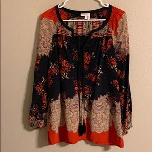 Anthropologie Meadow Rue silk boho top M